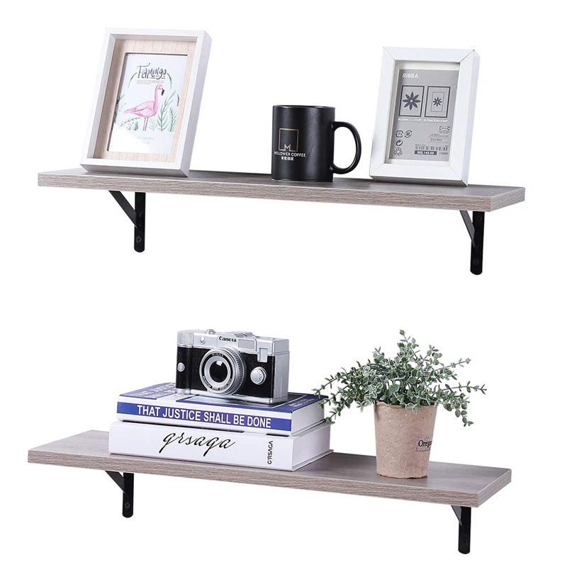New design industrial storage wooden ladder shelf 2 layer wall shelf with pipe