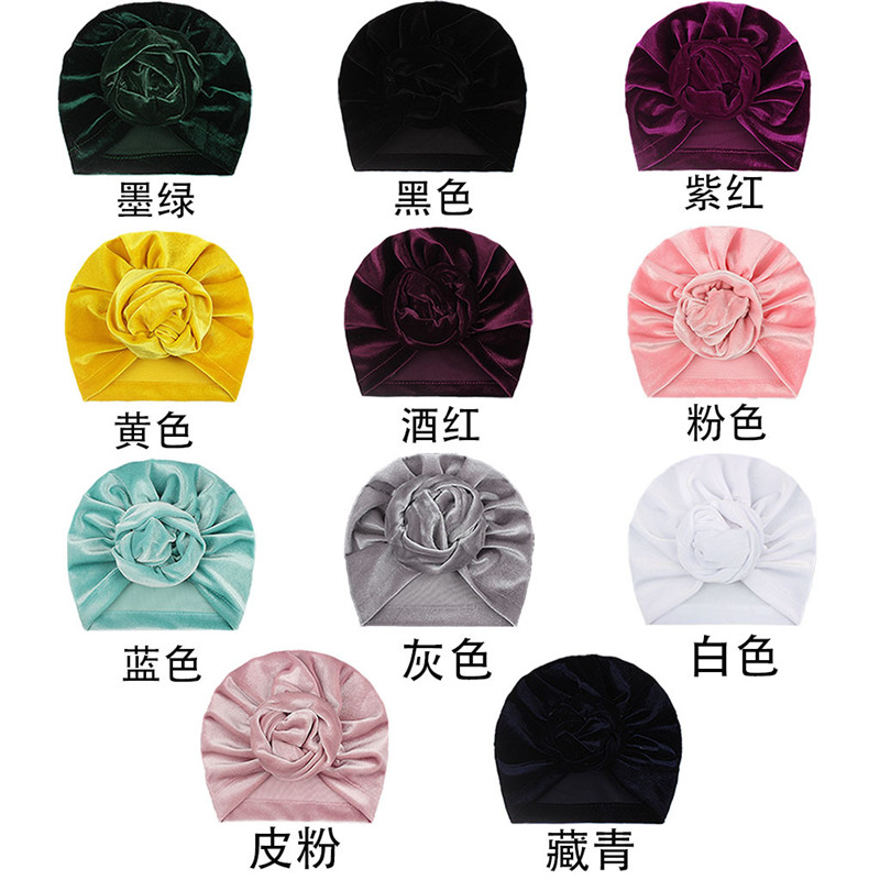 Hot sale velvet babies turban knot handmade baby hat solid color for winter