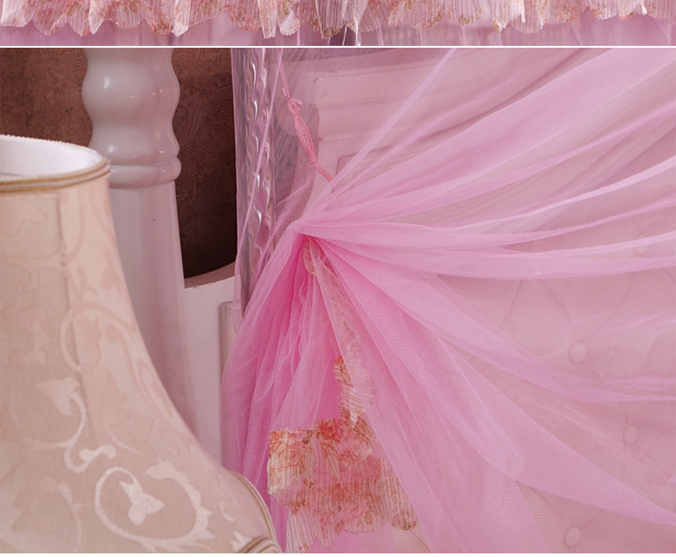 New summer European court non - embroidered steel bracket mosquito net lace square top three - door mosquito net