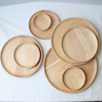 Hot Sale Customizable Wooden Plate Natural Color Rubber Wood Plate In FDA Grade in 5 Different Sizes Wood Plate Set For Kids