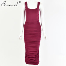 Simenual однотонное платье из гофрированной ткани с узкие облегающие платья Для женщин без рукавов 2020 летние модные вечерние клубная одежда, ко...(Китай)
