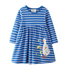 High quality kids clothes wear baby girl dress cotton animal printed casual fall autumn stripes