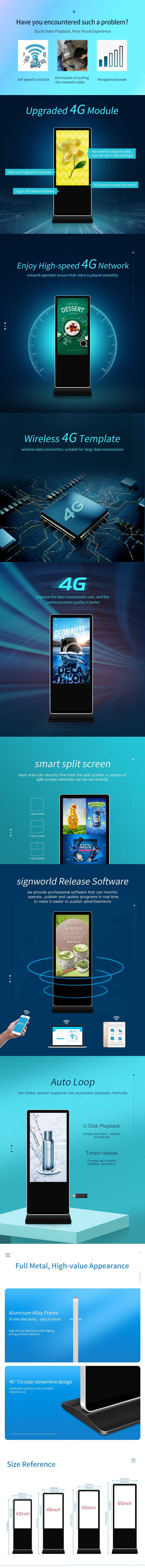 Muestra gratis de 65 pulgadas de soporte Wifi lcd Interactive Digital Signage y muestra reproductor de publicidad kiosco Anzeige