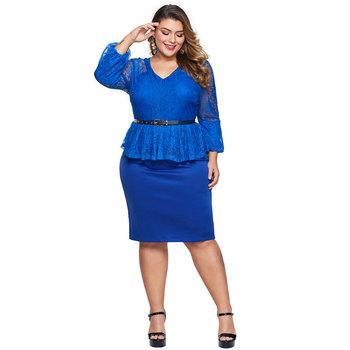 New Wholesale Peplum Long Sleeve Style Plus Size Lace Dress With Belt - Buy  Plus Size Lace Dress,Peplum Plus Size Dress,Plus Size Dress With Belt ...
