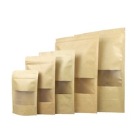 Resealable Kraft Paper Stand up Zipper Pouch Bags with Transparent Window Food Storage Bags Smell Proof Pouches