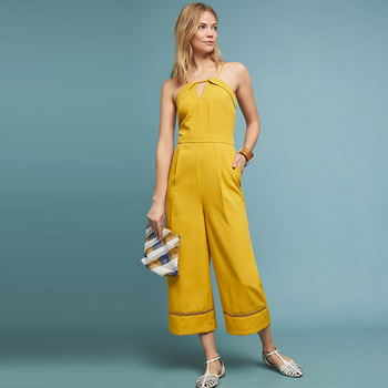 Custom Women Summer High Quality Lace Hem Strap Yellow Jumpsuit