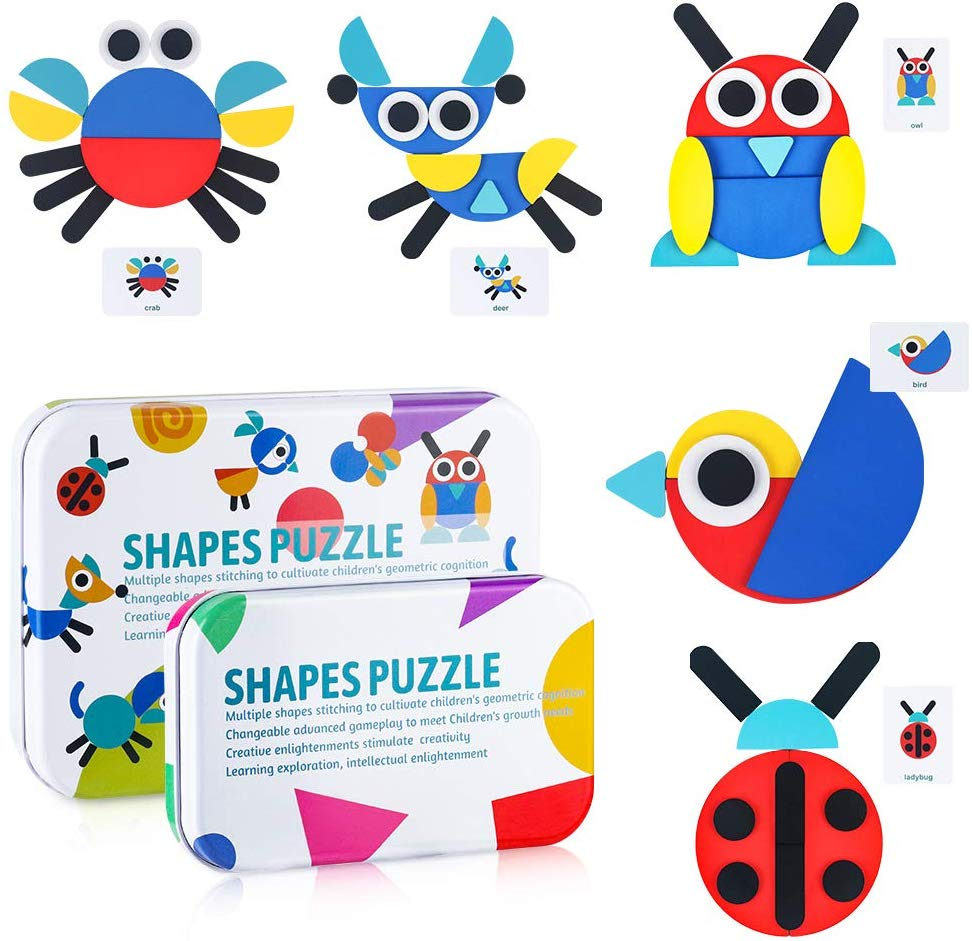 Amazon Hot Sale Wooden Pattern Block Animal Puzzle Stacking Game Kids Montessori Geometric Tangram Puzzle Toys