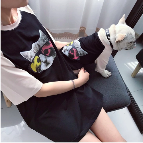 Matching clothes for pets dogs and owners cat vest match human T shirt puppy apparel for Schnauzer Teddy dog