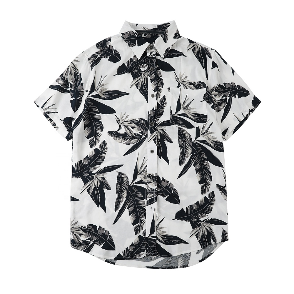 Factory direct sale accept custom cotton floral holiday western mens hawaiian <strong>shirts</strong> in black and white