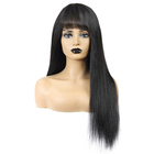Wholesale Cheap Straight Human Hair Wigs For Black Women Full Machine Made Wig With Bangs Non Remy Natural Color