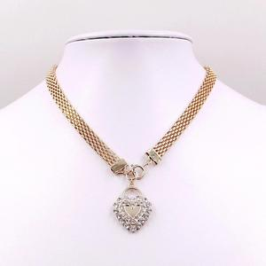 Hot sale simple 18k gold plated flat mesh chain necklace with heart shaped pendant for women