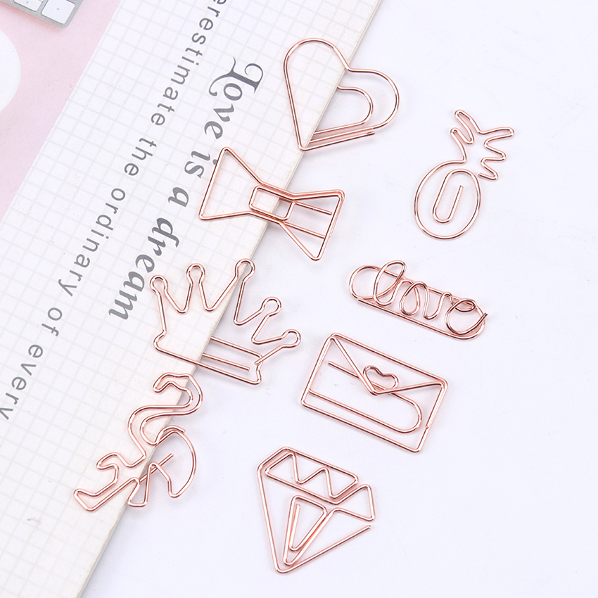 Cute LOVE Modeling Bookmark Paper Clip School Office Supply Metal Plating Rose Gold Paper Clip Gift Stationery