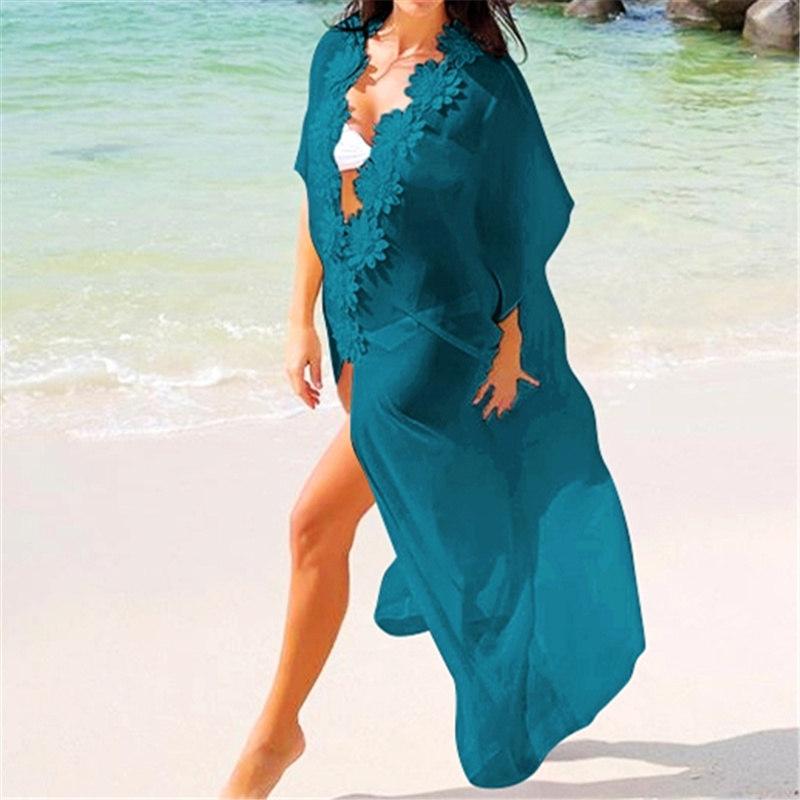 Сексуальное прозрачное длинное платье-кимоно с аппликацией для пляжа Sarong прозрачная шифоновая Туника женское летнее платье Парео Q204(Китай)