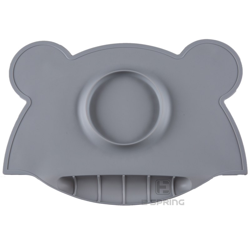 Waterproof bear shape lovely silicone high quality baby food bowl mat