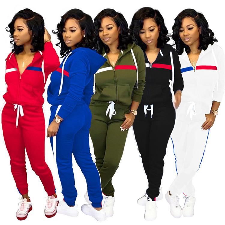 2020 ฤดูใบไม้ร่วงแฟชั่นผู้หญิงสวมเสื้อแขนยาว O คอ Monochrome ชุดลำลอง stripe 2 ชิ้นชุดฤดูหนาวฤดูใบไม้ร่วงสวม