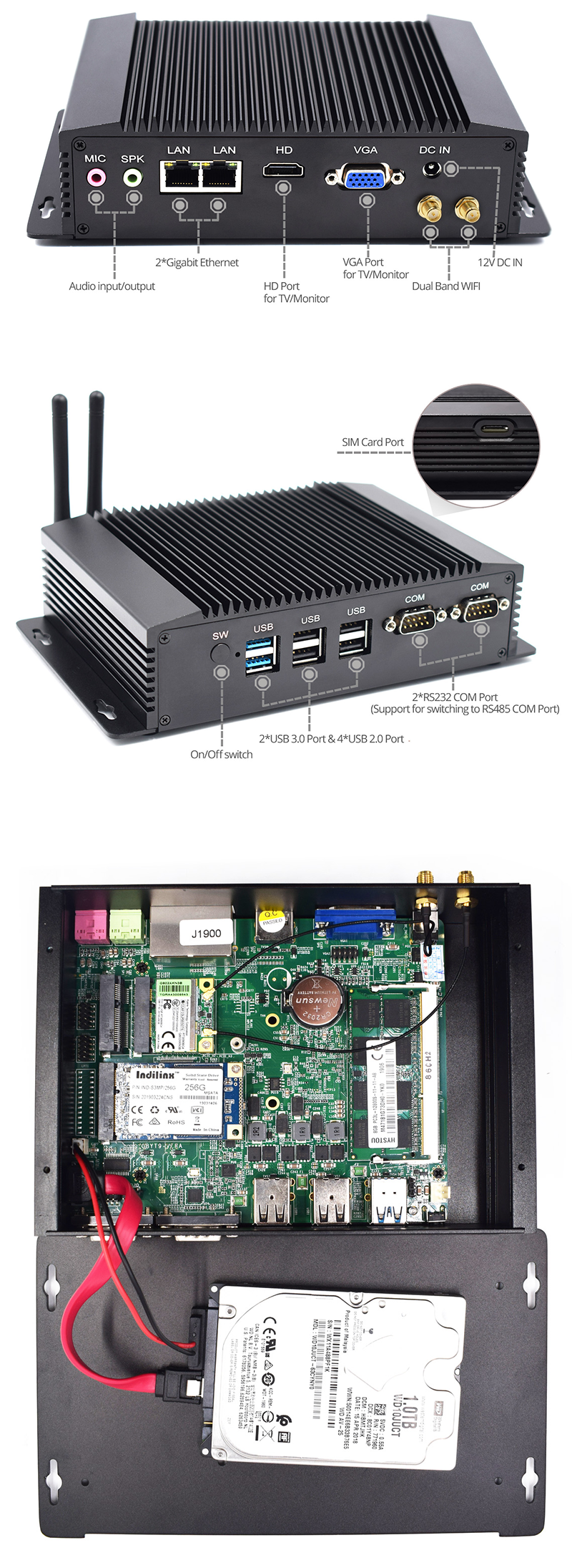 Dual Intel NIC J1900 Fanless Industrial Mini PC 2 LAN Linux Server pfsense Firewall PC Gamer 4G SIM Personal Computer Hardware