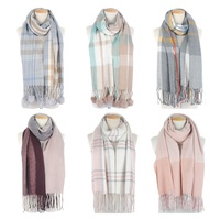 High Quality women oversize soft pashmina scarf Fashion checked scarf with pompom
