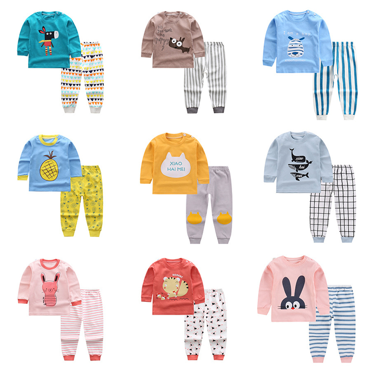 Wholesale 100% cotton children pyjamas set pajamas kids girls sleepwear