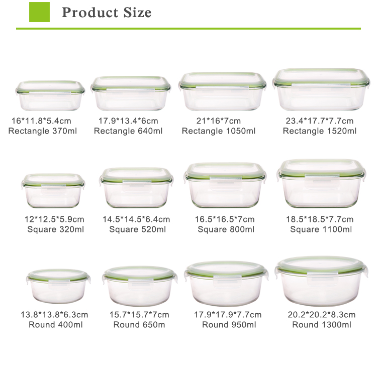 Ikoo Microwave borosilicate glass storage food containers set meal prep with plastic lid
