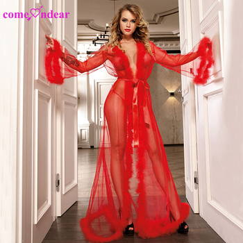 New Design Red Adult Fur Transparent Long Gown Sexy Lingerie