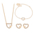 65673 Xuping 18k gold color costume jewelry heart shaped style four pieces women jewelry set