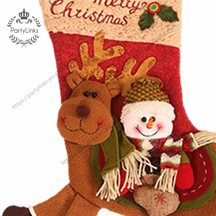 Xmas Socks Christmas Stocking Santa Kids Gift Holder Christmas Tree Decoration New Year Gift Riding Deer Candy Bags