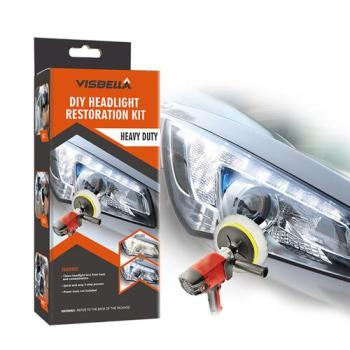 Visbella DIY Vehicle Headlight Restoration Kit Heavy Duty Drill Based Ultimate Headlight Restore Cleaner with UV Protection
