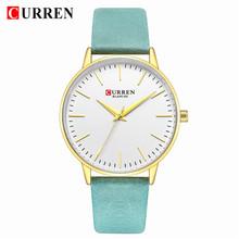 CURREN женские часы Топ бренд женские кварцевые кожаные Наручные часы девушки дамы платье женские наручные часы подарки Relogio Feminino(Китай)