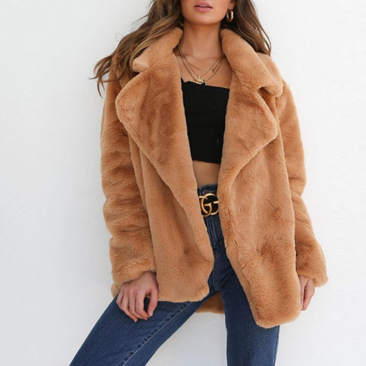2019 latest foreign Imitation rabbit fur <strong>coat</strong> Turn-down Collar <strong>fashion</strong> <strong>winter</strong> <strong>coat</strong> women