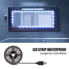 Косметичка для макияжа светодиодная зеркальная лампа 5 В USB Светодиодная гибкая лампа Лента USB ванная туалетный столик светодиодная зеркаль...(Китай)