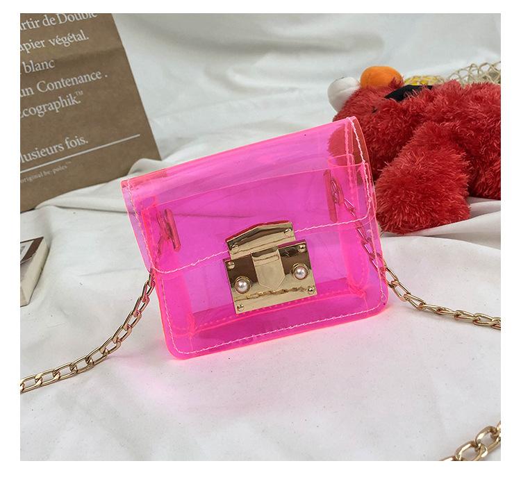 2019 한국 버전 귀여운 아기 소녀 캔디 네온 클리어 젤리 가방 지갑 가방 아이 핸드백