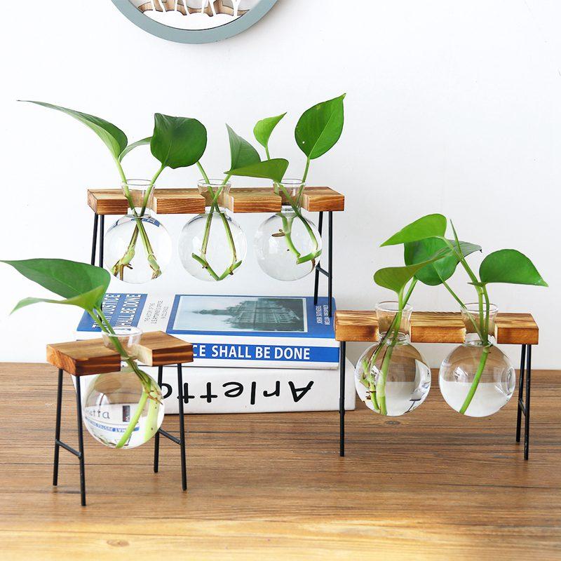 Creative Glass Bottle Vase Hydroponic Plant Transparent Vase Wooden Frame Coffee Shop Room Table Desk Decoration Vase