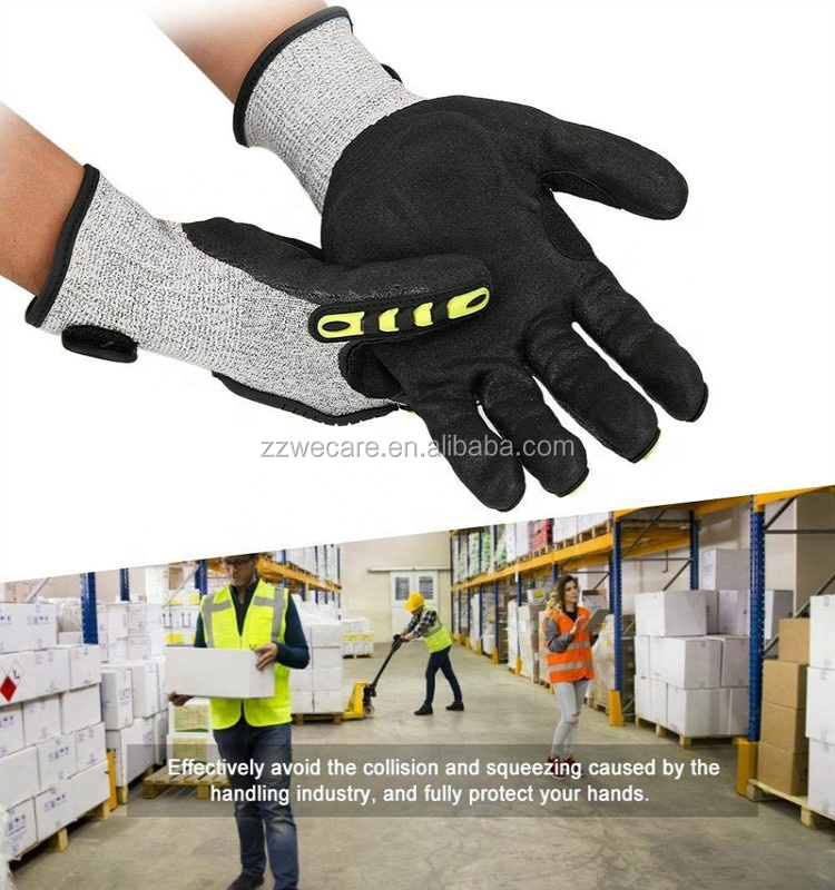 Outdoor Oil Gas Field Heavy Duty Work Cut Resistant Anti Vibration Oil TPR Protector Safety Work Impact Gloves