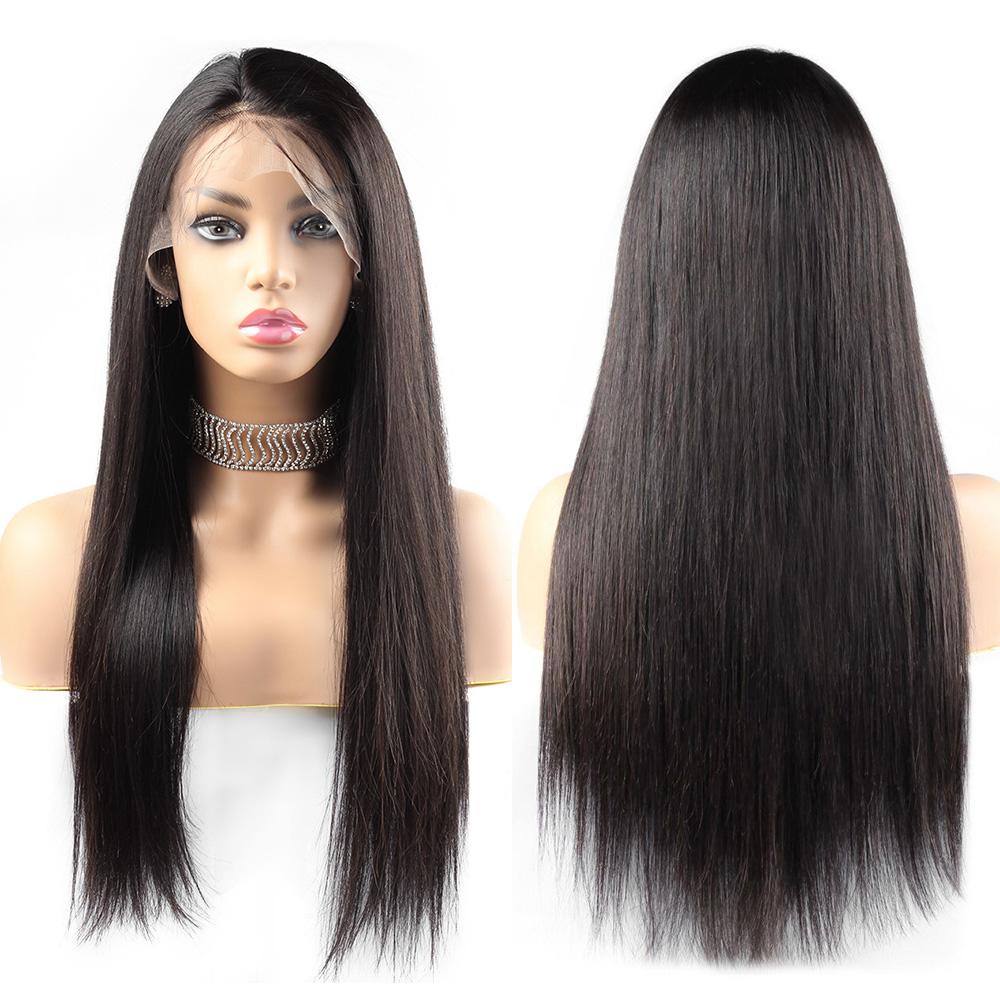 96005-D Groothandel 13*6 Kant Frontale Lange Natuurlijke Zijdeachtige Rechte Pruiken Raw Virgin Remy 100% Menselijk Cuticula Uitgelijnd Haar