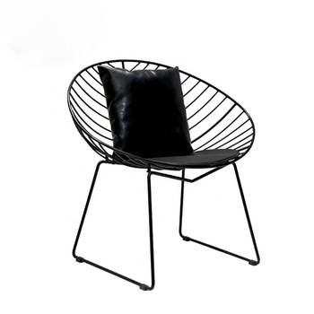 Restaurant Coffee Shop Black Metal Wire Dining Chair Leisure arm chair