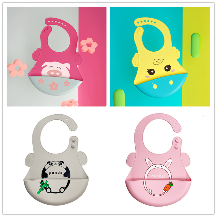 Wholesale Baby Silicone Bib Large, soft food grade, Custom Feeding Silicone bibs for babies OEM Manufacturer