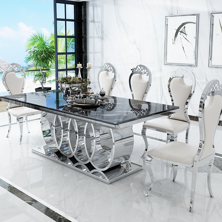 luxlury Dining Room stainless steel dining table