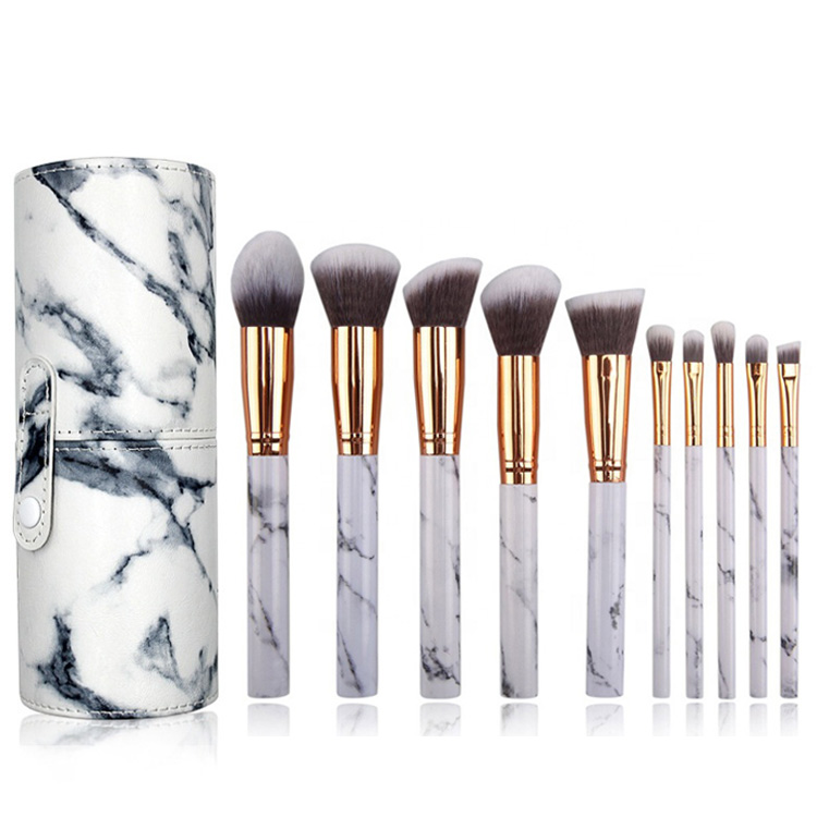 Private Label Custom 10Pcs Cheap Professionnel <strong>High</strong> <strong>Quality</strong> Marble Handle <strong>Makeup</strong> <strong>Brushes</strong> with Barrel for Powder Eye Shadow