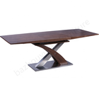 Modern high quality wooden brushed stainless steel craft foldable stretch dining table