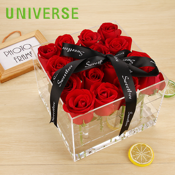 UNIVERSE Acrylic 9 Rose Clear Plastic Crystal Luxury Wholesale Flower Display Box