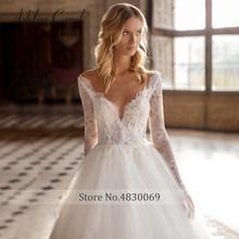 Элегантное кружевное свадебное платье принцессы 2020, с длинным рукавом, иллюзия, v-образный вырез, аппликации из бисера, Эшли Кэрол, свадебное...(China)