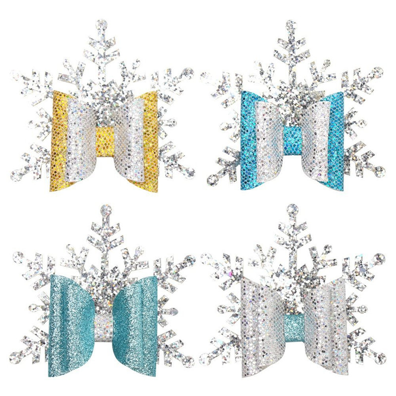 2019  New Style Hot-saling Snowflake Gleit Hair Clip Christmas Bowknot Hair Pin For Girls  Factory Wholesale