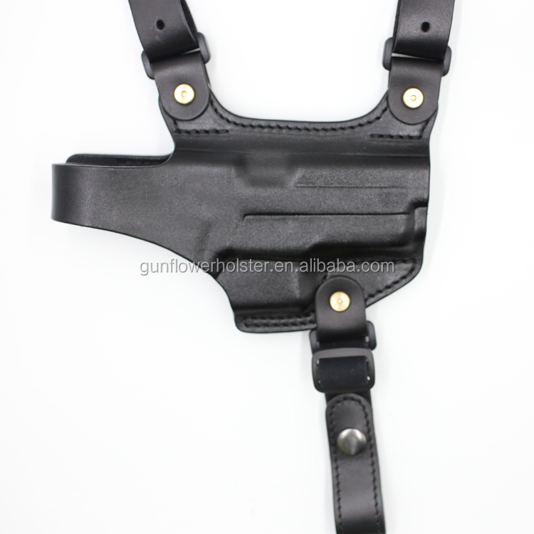 Gun&Flower Tactical Police Shoulder Leather Holster with Double Magazine Pouches for Sig P228 Colt 1911 Glock 17