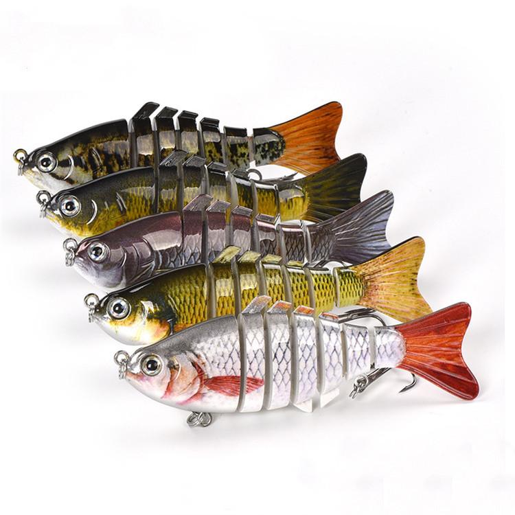 ขายส่ง Multi-section พลาสติก Hard เหยื่อสารกันบูด Multi สีทนทานตกปลาเหยื่อตกปลาเหยื่อตกปลา