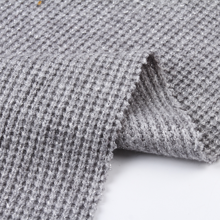 Hot selling ribbed knitted polyester fabric cashmere for women clothing
