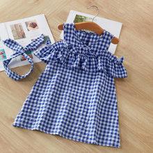 Лидер продаж 2018, новое летнее платье, милая одежда для маленьких девочек на день рождения, вечерние платья в синюю полоску с открытыми плеча...(Китай)