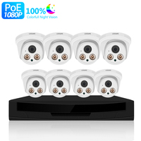 Newest 8 POE IP Camera Dome NVR with 8 POE Connections 1080p POE NVR Kit 8CH Security CCTV Camera System
