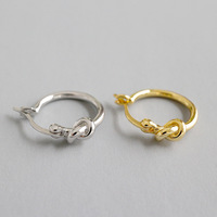 Tonglin Sterling Silver Love Knot earrings gold plated hoop earring