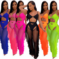 90511-Z018 Sexy spaghetti straps ruffles pants jumpsuits and rompers women