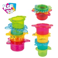 Wholesale educational plastic sea bath toy speed baby stack cups with holes